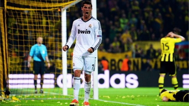 Ronaldo exults after scoring the equalizer.